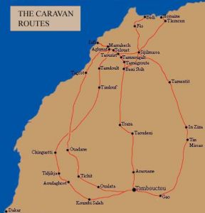Map of Caravan Routes of Morocco