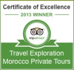 Travel Exploration Morocco, Trip Advisor Certificate of Excellence 2013