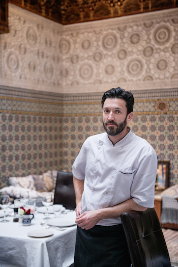 Vincent Bonnin, chef at Dar Roumana, Fez el Bali, Morocco.  Photo by Alan Keohane