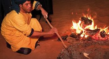 Bonfire in Moroccan Sahara Desert, Erg Chebbi Dunes