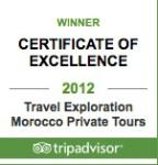 Travel Exploration Morocco TripAdvisor Winner Certificate of Excellence 2012